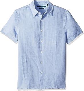 Perry Ellis 男式短袖纯色亚麻棉衬衫
