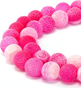 BRCbeads 华丽天然宝石光滑哑光圆散珠 变体颜色和材质用于珠宝制作 Fushia 磨砂玛瑙 8mm
