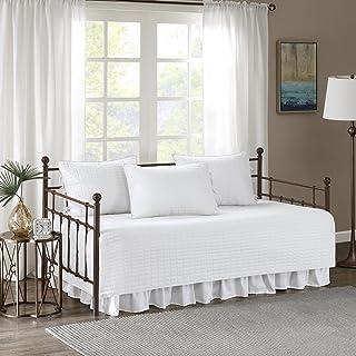 "Comfort Spaces - Kienna Daybed 套装 - 缝合棉花图案 - 5 件 白色 75""x39"" CS13-0546"