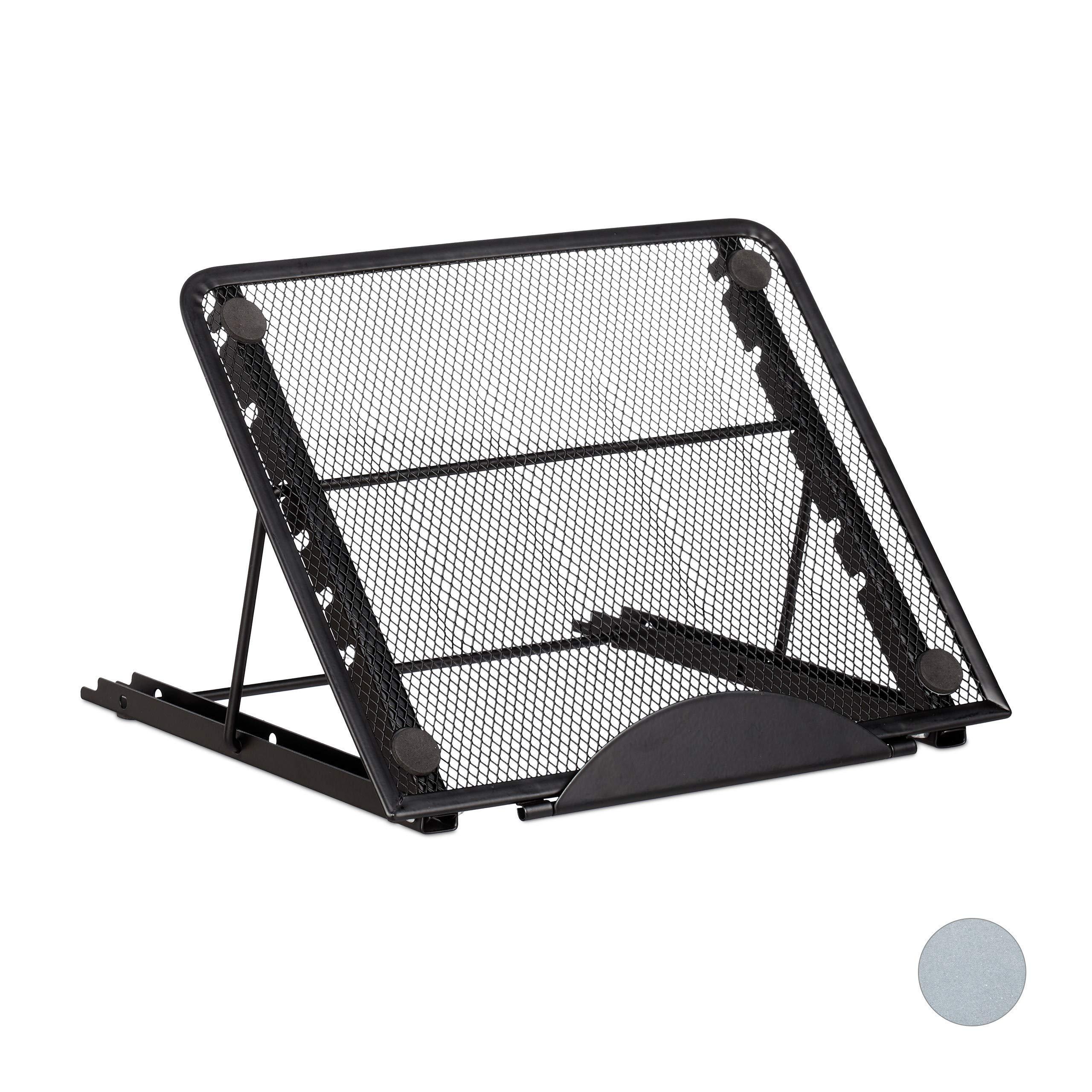 Relaxdaysタブレットホルダー、調節可能なテーブルの脚、12インチが標準10024813_46黒の大きなタブレットPC、スマートフォン、金属ステント、様々な色を*