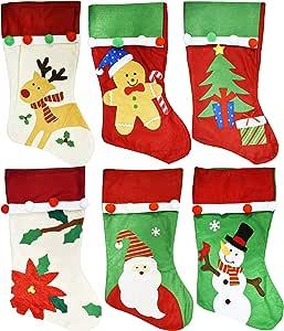 """一套 6 件 - 圣诞节假日主题刺绣毛毡长袜,45.72 cm 带挂环 Red, Green, Cream 18 """" S01654"""