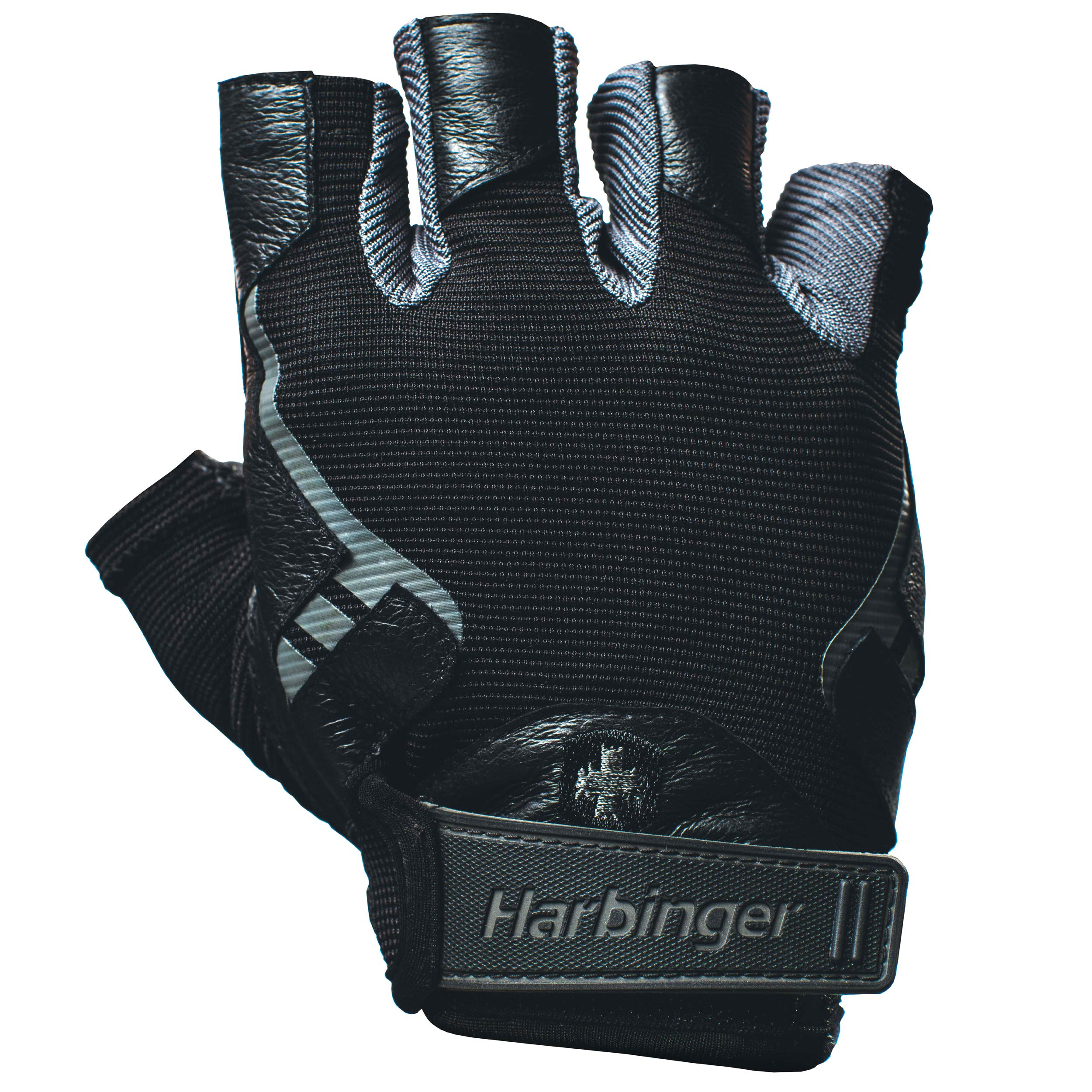 Harbinger Pro Non-WristWrap Vented Cushioned Leather Palm Weightlifting Gloves, Pair
