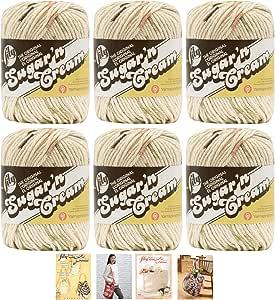 批量购买:Lily Sugar'n Cream 纱线 * 纯棉固体和发片(6 件装)中号 #4 Worsted Plus 4 百合图案 Sonoma Prints 02018 大 10200