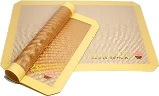 硅树脂烘焙垫 - 两个半张垫子套装 41.91 厘米 x 29.21 厘米 - 不粘 - 饼干纸 - 烘焙衬垫 - 非常适合烤箱、糕点、培根、饼干、鸡肉、面包、糕点卷
