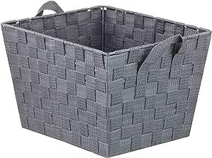 Home Basics 无纺布带手柄箱,黑色 灰色 中 PB49146