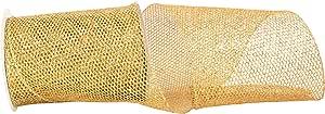 Reliant Ribbon 97713W-035-25F Grand Net 闪光有线边缘丝带,金色