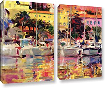 """ArtWall Peter Graham's Golden Harbor Vista, 2 Piece Gallery-Wrapped Canvas Set, 36 by 48"""""""