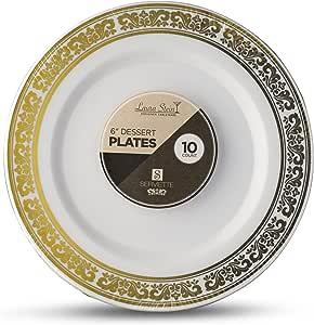 Laura Stein 设计师餐具系列热印章塑料一次性盘子 金色 6'' INCH PLATES SRT-P6G