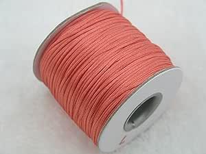 KONMAY 80 码 1.0 毫米马尾/鸡尾*缎丝绸绳三叶草流苏串珠尼龙长裤绳 Dark Peach 184 1.0mm SNC10