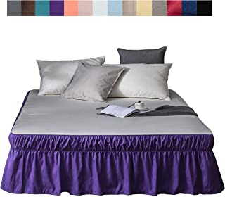 AYASW 床裙 - 40.64 厘米裙深 褶皱 三边面料 包边 褶边 紫色 Queen/King