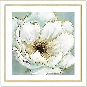 "Casa Fine Arts 柔软青色亮丽金属蜡笔花卉档案印花 White and Gold Frame 26.5"" x 26.5"" 7400"
