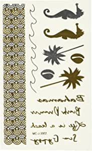 Wrapables Small Metallic Gold and Silver Temporary Tattoo Stickers, Beach Dream
