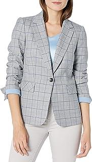 Tahari ASL 女士单扣带盖口袋格子夹克