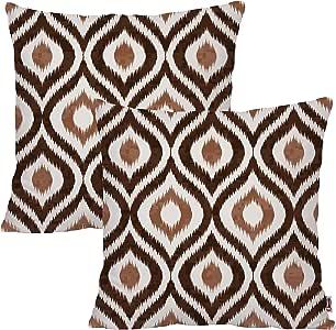Queenie - 2 件几何欧根纱数码印花图案 1 件棉帆布抱枕套装饰枕套靠垫套 17.75 X 17.75 英寸 45 X 45 厘米 深棕色