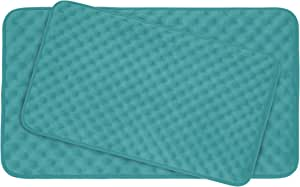 Bounce Comfort Extra Thick Memory Foam Bath Mat Set - Massage Plush 2 Piece Set with BounceComfort Technology, 20 x 32 in. Turquoise