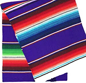 "TRLYC 145X180 厘米墨西哥毯子条纹婚礼桌布棉质旅行小毯户外桌布 紫色 57""x72"" SH-wt Purple 57x72 Mexican blanket"