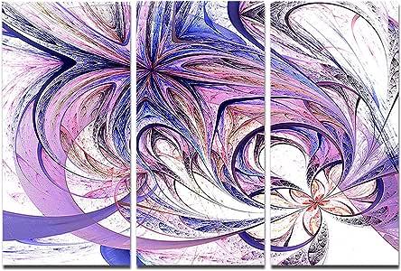 """蓝色和粉色花朵图案 - 花卉数字艺术金属墙壁艺术 - MT7860-28x12 36x28"""" MT7860-36-28"""