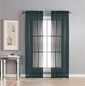 Window Elements Diamond Sheer Voile Extra Wide Rod Pocket Curtain Panel, 56 x 95-Inch, Black