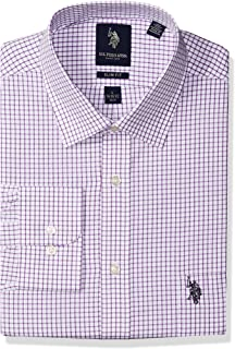 "U.S. Polo Assn. 男式修身格子半宽角领衬衫  Graphic Check Purple / White 17""-17.5"" Neck 36""-37"" Sleeve"
