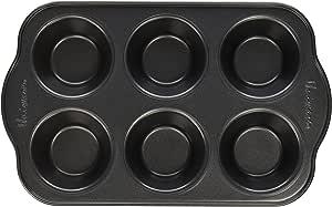 Uniware 不粘松松饼盘,超大手柄,Horma Antiadherente Para 小松饼 黑色 6 Cups (Small) H&K-21413