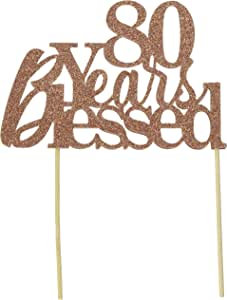 All About Details 80 Years Blessed Cake Topper,1 件,80 岁生日,闪光上装,派对装饰,摄影道具 铜色 1.60 x 6.40 x 9.60 inches CAT80YB