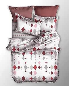 DecoKing 床上用品 带有 1 个枕套 80 × 80 床上用品套装 被套超细纤维 床上用品 拉链 基本系列 罗马 白色 灰色 粉色 红色 波尔多 白色 灰色 粉色 红色 波尔多 135x200 POS/BASIC/ROMB/135X2