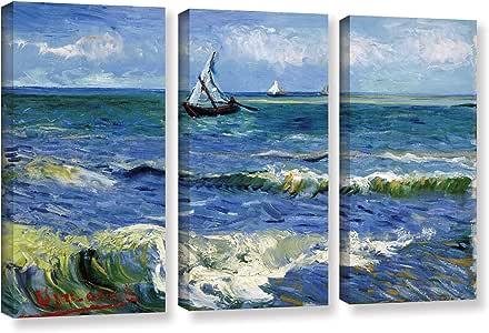 "ArtWall 3 Piece ""Vincent Vangogh's Seascape At Saintes Maries"" Gallery Wrapped Canvas Artwork, 24"" x 36"""