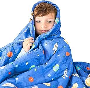 "LUNA 加重毛毯 - 纯棉 - 适合儿童和成人 蓝色空间 36"" x 48"" 5 lbs"