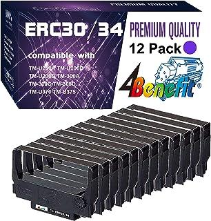 (12 件装,紫色,POS 色带)4Benefit 兼容爱普生 ERC30 ERC34 ERC38 丝带墨盒 ERC30BR 用于爱普生 KN506 TM 200 TMU 220 TMU230 打印机