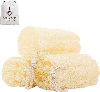 FAHVANA 丝瓜海绵 3 件套优质埃及丝瓜 * 天然*去角质皮肤身体蓬松 磨毛 洗澡淋浴 加速去角质 皮肤* 改善皮肤