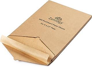 Zenlogy 未漂白漆纸面烘焙纸(100 张) 22.86x33.02 厘米 - 完全适合四分之一床单锅 - 采用穿孔盒,方便存放