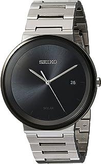 Seiko 男式石英不锈钢礼服手表,颜色:银色调(型号:SNE479)