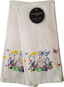 2 件套装饰性春季 * 纯棉超吸水厨房毛巾洗碗巾 Flower Garden Bunny