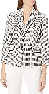 Kasper 女式长袖粗花呢 2 粒扣缺口领夹克,带滚边