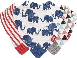 Nuby 双面天然棉布 3件装出牙围兜,灰色/红色/蓝色,箭头/红色条纹/大象