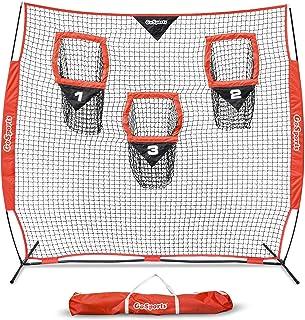 GoSports 8 英尺 x 8 英尺橄榄球训练器抛投网改善 QB 投掷精度 - 包括可折叠的弓架和便携式手提箱