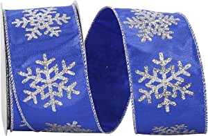 Reliant Ribbon 93561W-050-40F 闪光雪花金属双宫有线边缘丝带,皇家蓝