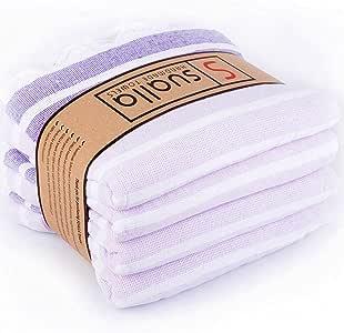 Sualla * 纯棉 - 土耳其普拉多毛巾 - 浴巾沙滩毛巾 - 沙滩毯毯 - 旅行毯 Handloom 编织Peshtemal -91.44 x 160.02 厘米,家长(4 件套) Lilac-dark Purple 36X63 Inches PRADO_PEST_LILACDPURPLE