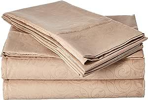 Elegant Comfort 奢华丝滑柔软舒适 4 件套床单套装美丽设计起皱 灰褐色 Queen VineSheets-Queen Taupe