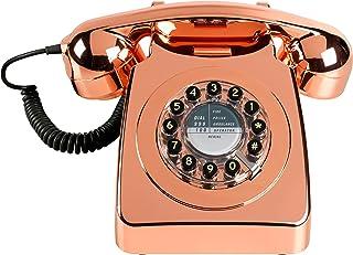 Wild Wood 旋转设计复古 Landline Phone 适用于家庭 铜色