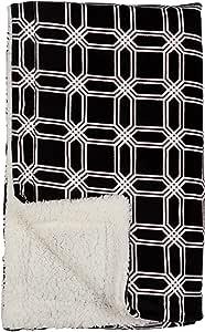 Family Pl 优质珍珠天鹅绒超软羊绒抱毯,127 X 152.4 厘米 Geometric Octagon - Black PVSH1ROS*1