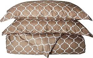 CHIC HOME brooklyn 3件双面被套组合几何钻石回纹饰图案印花拉链床上用品–装饰枕头枕套含