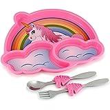 KidsFunwares Me Time PP 餐具套装 (Unicorn) - 3 件套 适合儿童和学步儿童使用的盘子、叉子和勺子 - 激发孩子的想象力和教学部分控制