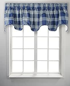 Ellis Curtain Bartlett 格子深扇形帷幔内衬,177.8 cm 宽 x 43.18 cm 深,灰色