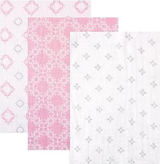 "Hudson Baby 3 Piece Muslin Swaddle Blankets, Pink Damask, 46"" x 46"""