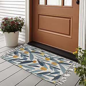 Bless International PET 家用和厨房地毯复古非装饰区域地毯适用于儿童和客厅,家居装饰,野餐,旅行, Palm Butterflies Tropical Vector BLESSIR042