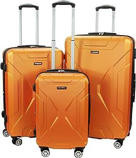 WISDOM 硬边可扩展商务行李箱,带旋转轮和 TSA 锁(橙色)
