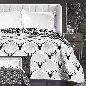 decoking 床单黑色白色,床抱双面,易护理,鹿图案黑色白色 hypnosis 系列 deerest