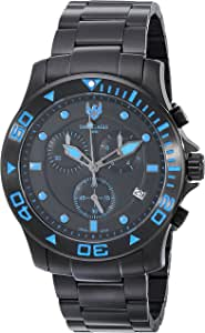 Swiss Eagle 男式 SE-9001-44 海桥黑色不锈钢表带环手链