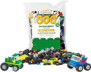 Play Platoon 积木 – 窗户、门和屋顶或车轮、轮胎和轴套件 – 搭建砖兼容游戏套件 500 Wheels, Tires, & Axels - 500 Pieces